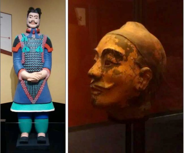 Left: Replica painted warrior, depicting how the figures might have looked 2000 years ago. Right: One of the rare pieces with paint, thanks to new technology that allows pieces to be removed without damaging the paint.