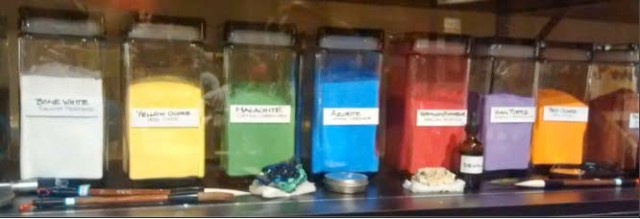 Chemistry! It's blurry, but these bottles are labeled with the compounds used to make the colors