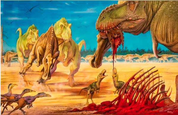 Read more about some of the art like this piece by Luis Rey in the Paleo Art Gallery here.