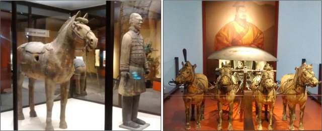Items from the Terra Cotta Warriors exhibit
