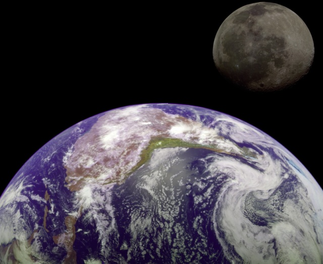 Earth and Moon size to scale