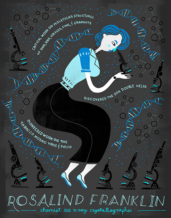Design of Rosalind Franklin surrounded by her contributions to science, by Rachel Ignotofsky, Female Scientists You Should Know, Women in Science