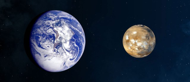 The relative sizes of Earth and Mars