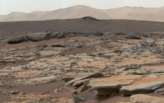 View of Martian Landscape from the Curiosity Rover