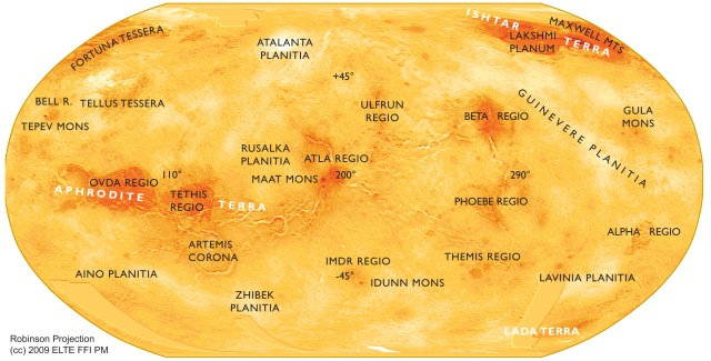 Labelled Map of Venus Surface Features
