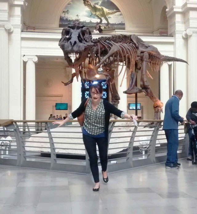 Running from Sue the T. Rex at the Field Museum